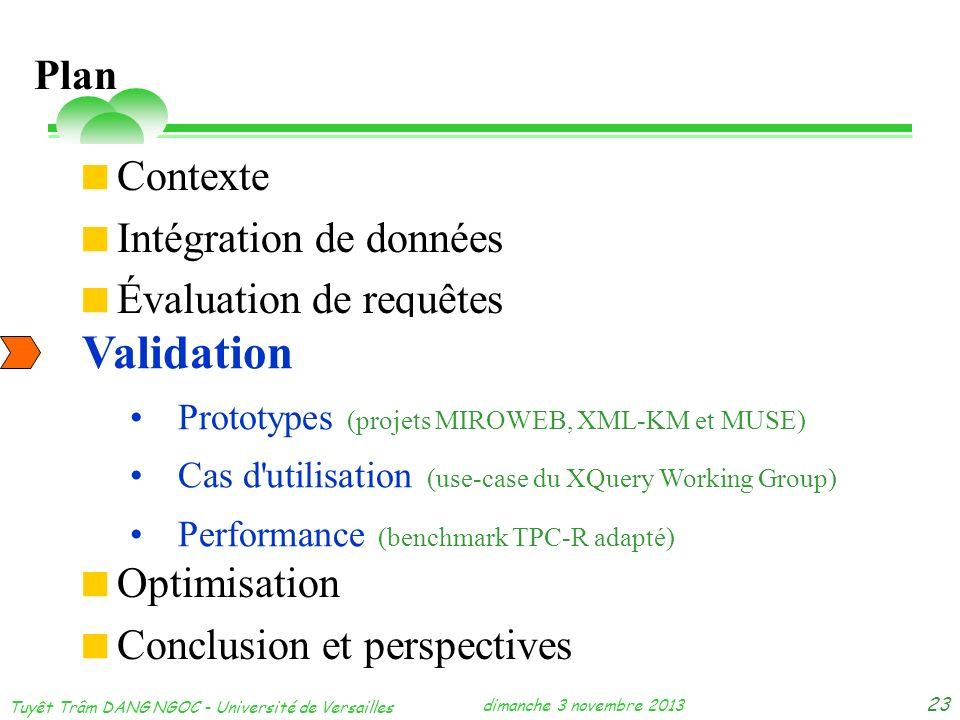 dimanche 3 novembre 2013 Tuyêt Trâm DANG NGOC - Université de Versailles 23 Contexte Intégration de données Évaluation de requêtes Validation Optimisa