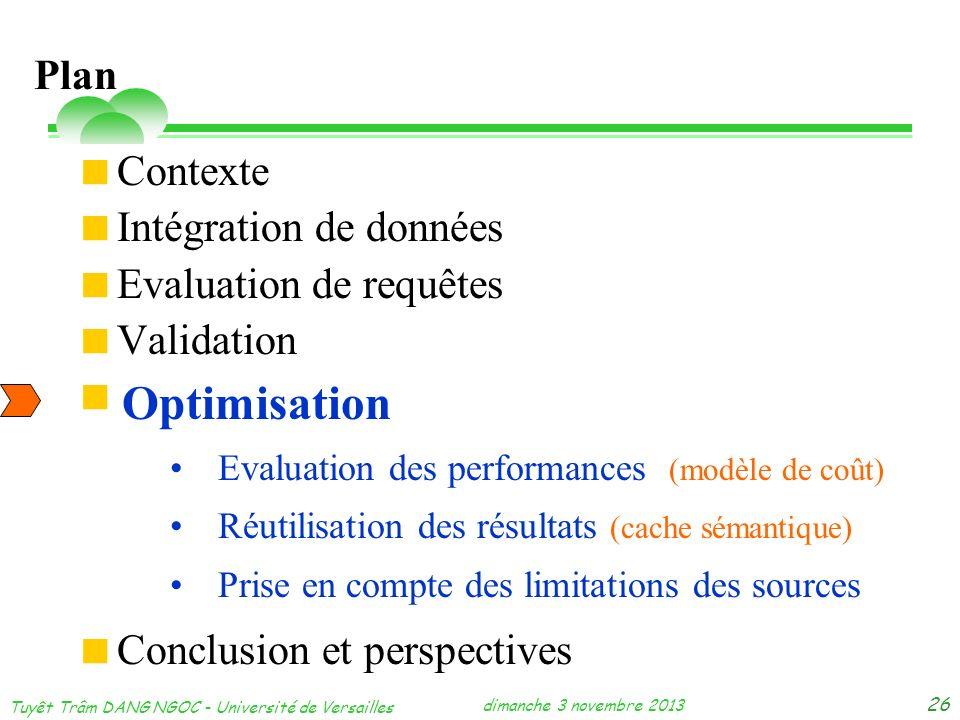 dimanche 3 novembre 2013 Tuyêt Trâm DANG NGOC - Université de Versailles 26 Contexte Intégration de données Evaluation de requêtes Validation Optimisa