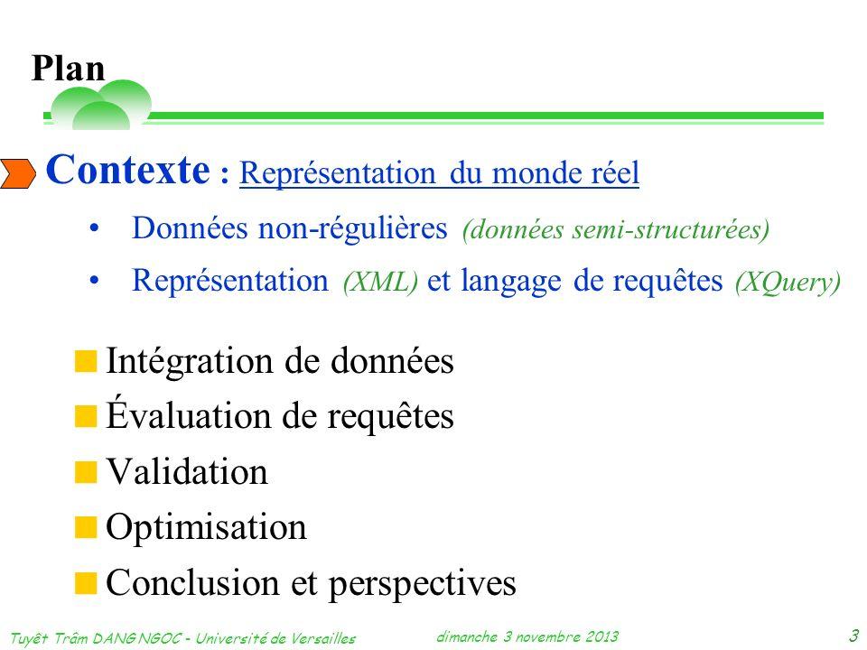 dimanche 3 novembre 2013 Tuyêt Trâm DANG NGOC - Université de Versailles 3 Contexte Intégration de données Évaluation de requêtes Validation Optimisat
