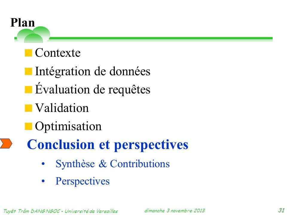 dimanche 3 novembre 2013 Tuyêt Trâm DANG NGOC - Université de Versailles 31 Contexte Intégration de données Évaluation de requêtes Validation Optimisa