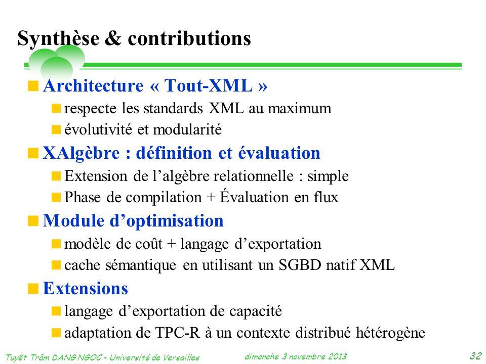 dimanche 3 novembre 2013 Tuyêt Trâm DANG NGOC - Université de Versailles 32 Synthèse & contributions Architecture « Tout-XML » respecte les standards