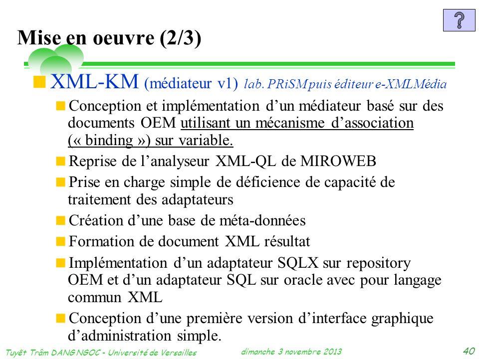 dimanche 3 novembre 2013 Tuyêt Trâm DANG NGOC - Université de Versailles 40 Mise en oeuvre (2/3) XML-KM (médiateur v1) lab. PRiSM puis éditeur e-XMLMé