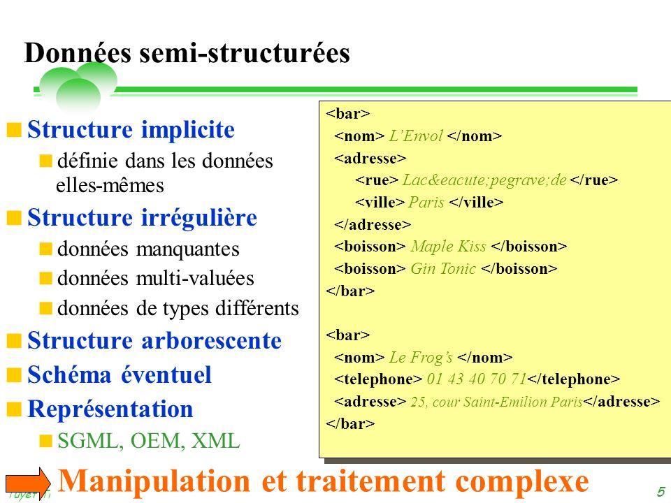 dimanche 3 novembre 2013 Tuyêt Trâm DANG NGOC - Université de Versailles 5 Données semi-structurées Structure implicite définie dans les données elles