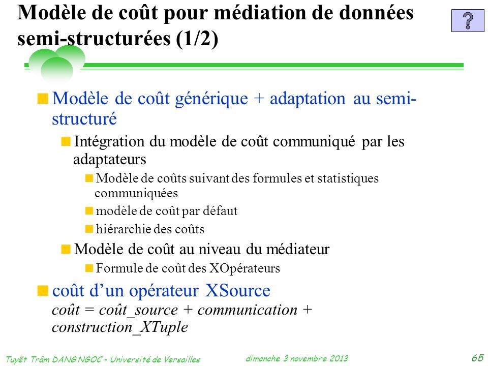 dimanche 3 novembre 2013 Tuyêt Trâm DANG NGOC - Université de Versailles 65 Modèle de coût pour médiation de données semi-structurées (1/2) Modèle de