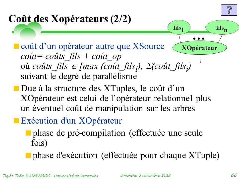 dimanche 3 novembre 2013 Tuyêt Trâm DANG NGOC - Université de Versailles 66 Coût des Xopérateurs (2/2) coût dun opérateur autre que XSource coût= coût