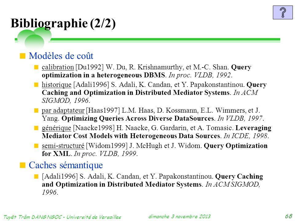 dimanche 3 novembre 2013 Tuyêt Trâm DANG NGOC - Université de Versailles 68 Bibliographie (2/2) Modèles de coût calibration [Du1992] W. Du, R. Krishna
