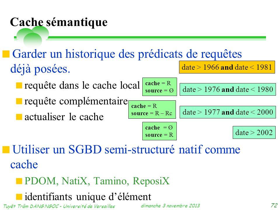 dimanche 3 novembre 2013 Tuyêt Trâm DANG NGOC - Université de Versailles 72 Cache sémantique Garder un historique des prédicats de requêtes déjà posée