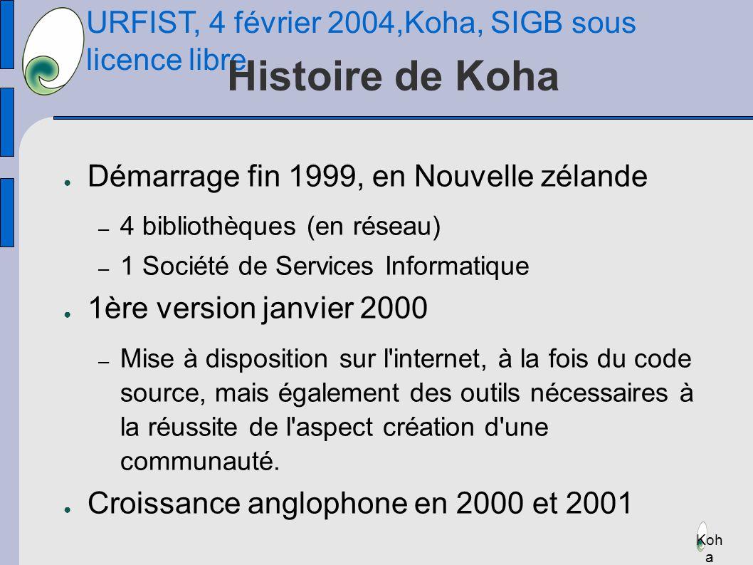 URFIST, 4 février 2004,Koha, SIGB sous licence libre Koh a Histoire de Koha Démarrage fin 1999, en Nouvelle zélande – 4 bibliothèques (en réseau) – 1 Société de Services Informatique 1ère version janvier 2000 – Mise à disposition sur l internet, à la fois du code source, mais également des outils nécessaires à la réussite de l aspect création d une communauté.