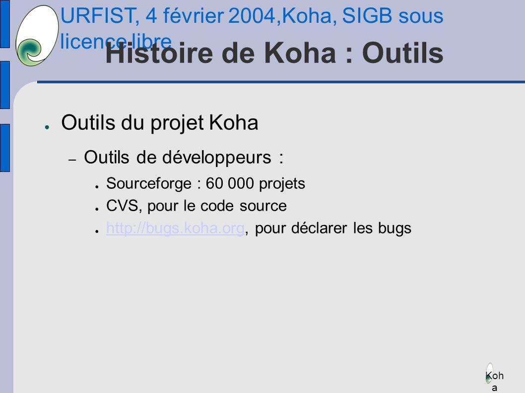 URFIST, 4 février 2004,Koha, SIGB sous licence libre Koh a Histoire de Koha : Outils Outils du projet Koha – Outils de développeurs : Sourceforge : 60 000 projets CVS, pour le code source http://bugs.koha.org, pour déclarer les bugs http://bugs.koha.org