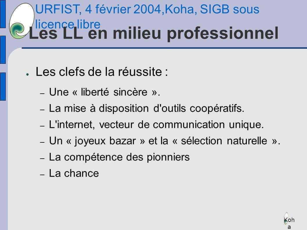 URFIST, 4 février 2004,Koha, SIGB sous licence libre Koh a Les LL en milieu professionnel Les clefs de la réussite : – Une « liberté sincère ».