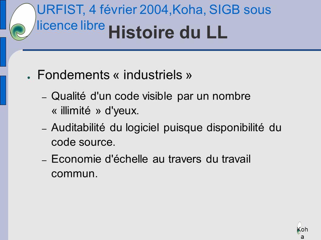 URFIST, 4 février 2004,Koha, SIGB sous licence libre Koh a Histoire du LL Fondements « industriels » – Qualité d un code visible par un nombre « illimité » d yeux.