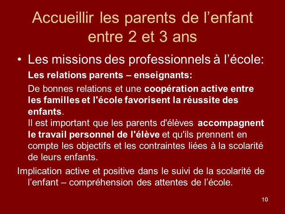 10 Accueillir les parents de lenfant entre 2 et 3 ans Les missions des professionnels à lécole: Les relations parents – enseignants: De bonnes relatio