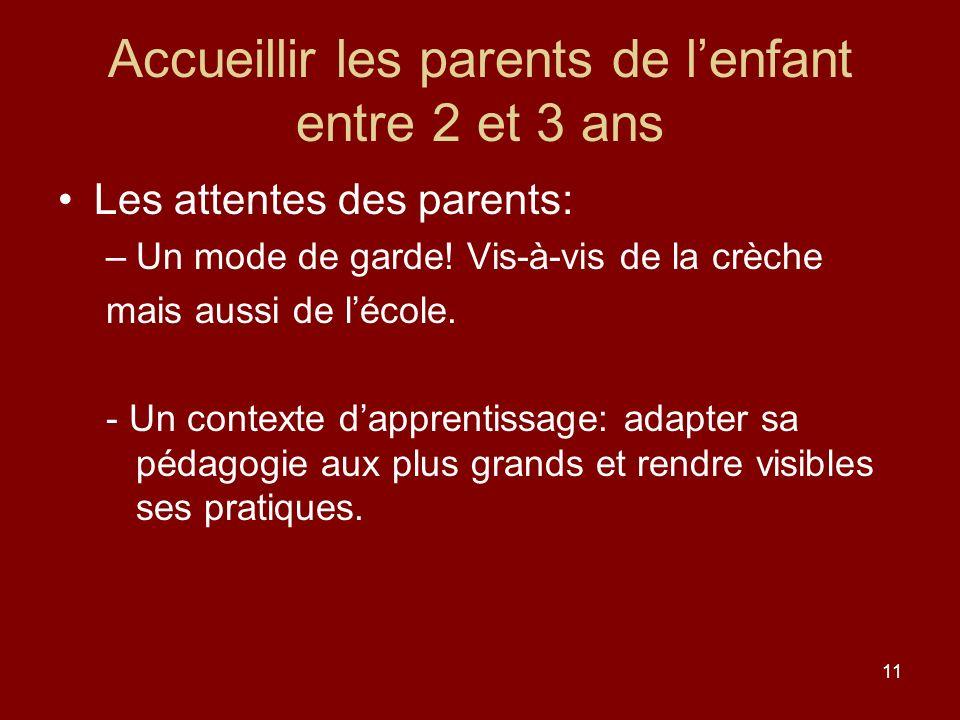 11 Accueillir les parents de lenfant entre 2 et 3 ans Les attentes des parents: –Un mode de garde! Vis-à-vis de la crèche mais aussi de lécole. - Un c