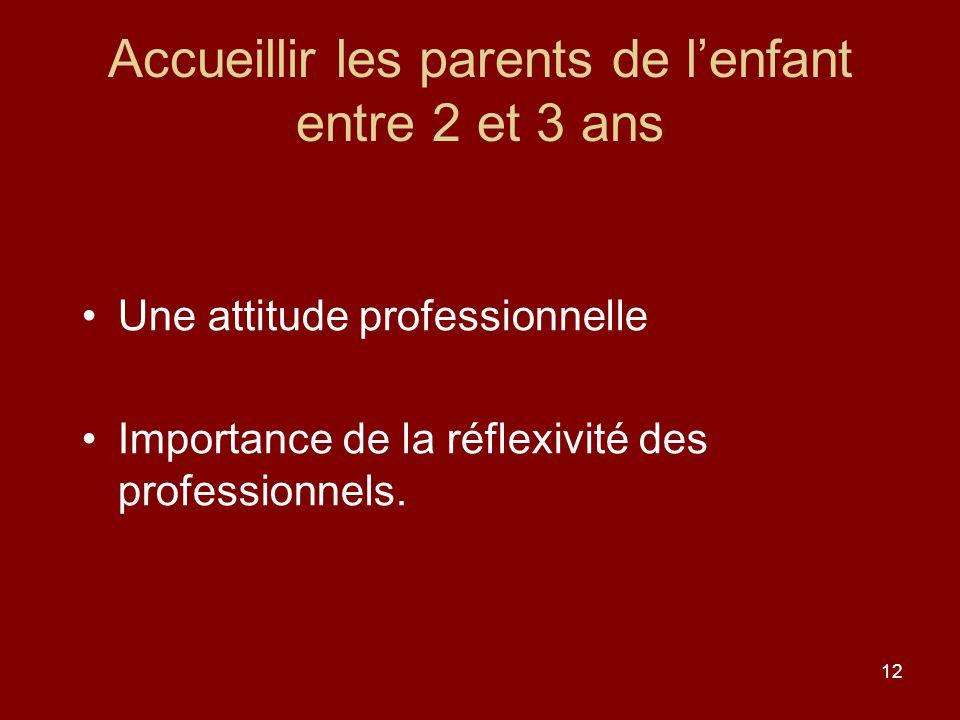 12 Accueillir les parents de lenfant entre 2 et 3 ans Une attitude professionnelle Importance de la réflexivité des professionnels.