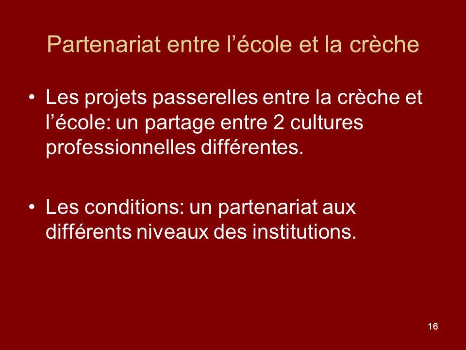 16 Partenariat entre lécole et la crèche Les projets passerelles entre la crèche et lécole: un partage entre 2 cultures professionnelles différentes.