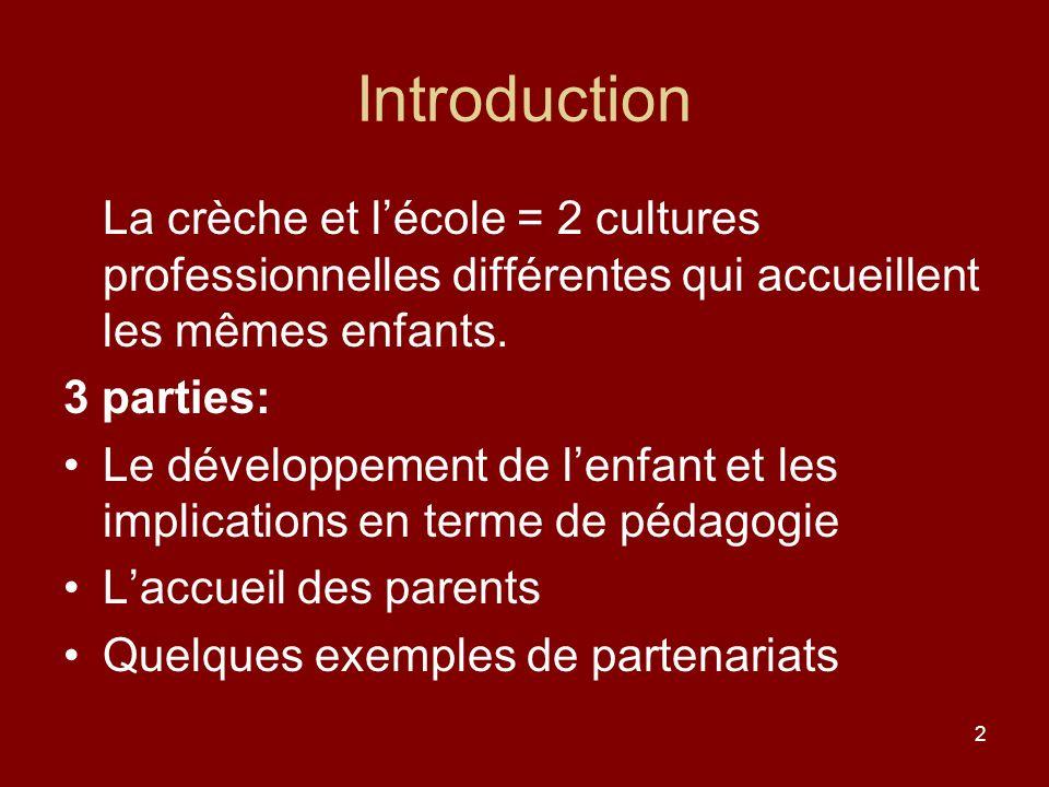 2 Introduction La crèche et lécole = 2 cultures professionnelles différentes qui accueillent les mêmes enfants. 3 parties: Le développement de lenfant