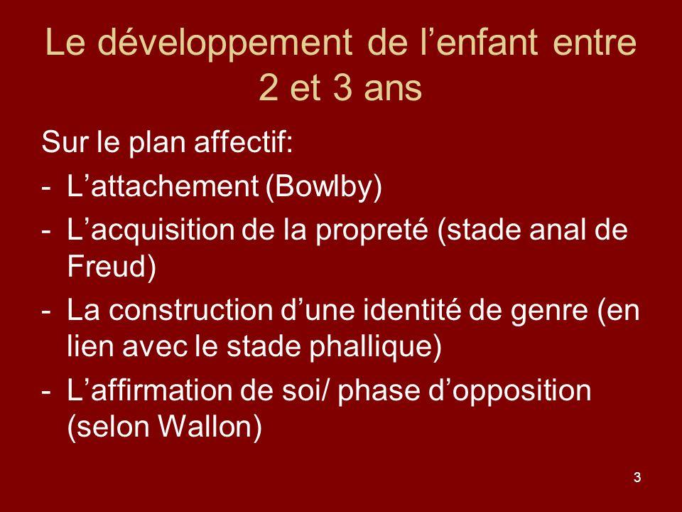 3 Le développement de lenfant entre 2 et 3 ans Sur le plan affectif: -Lattachement (Bowlby) -Lacquisition de la propreté (stade anal de Freud) -La con
