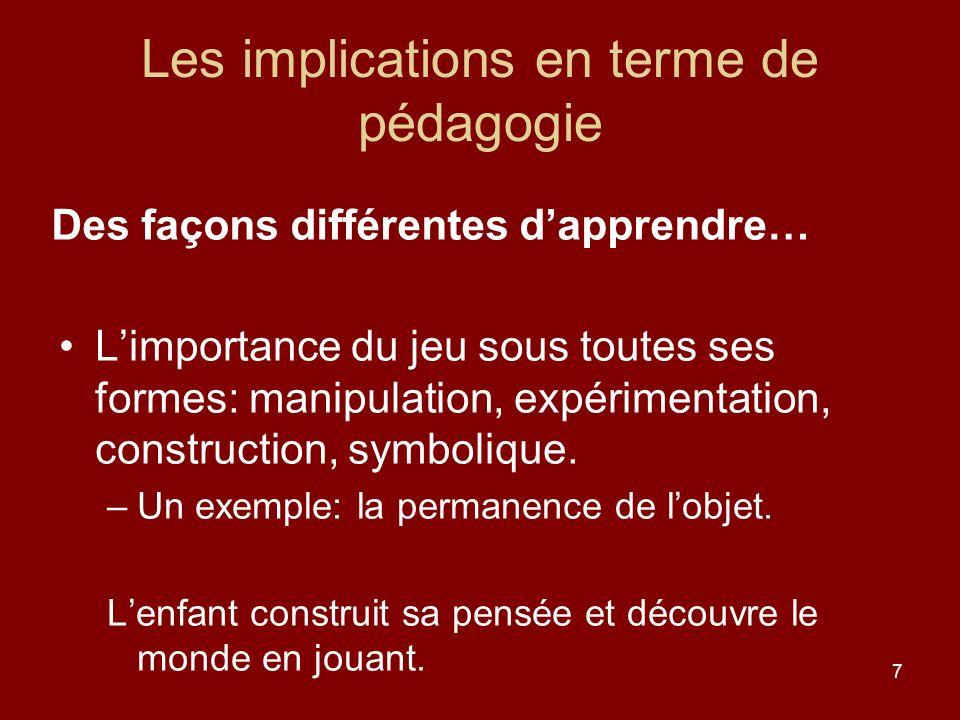 7 Les implications en terme de pédagogie Limportance du jeu sous toutes ses formes: manipulation, expérimentation, construction, symbolique. –Un exemp