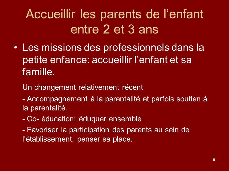 9 Accueillir les parents de lenfant entre 2 et 3 ans Les missions des professionnels dans la petite enfance: accueillir lenfant et sa famille. Un chan