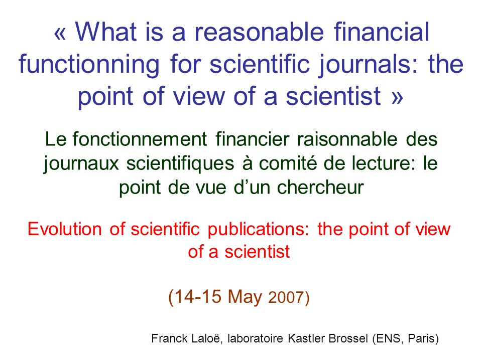 Outline of the talk I.Costs: peer review; subscription to journals II.The present situation: a real problem III.Solutions?