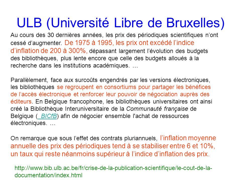 ULB (Université Libre de Bruxelles) Au cours des 30 dernières années, les prix des périodiques scientifiques nont cessé daugmenter.
