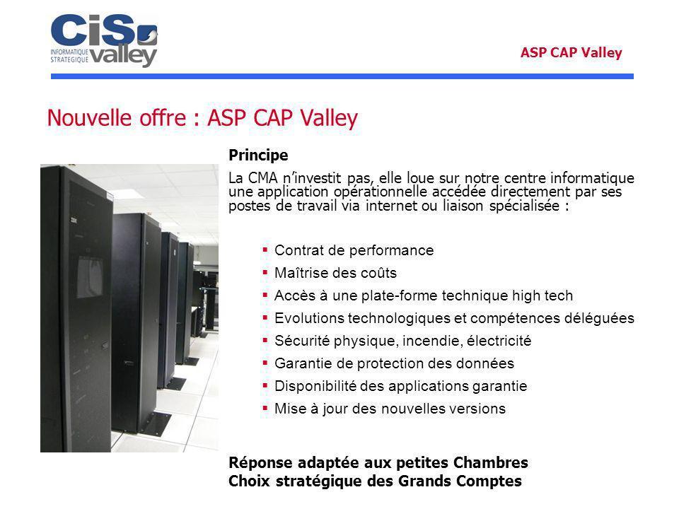 Nouvelle offre : ASP CAP Valley ASP CAP Valley Principe La CMA ninvestit pas, elle loue sur notre centre informatique une application opérationnelle a