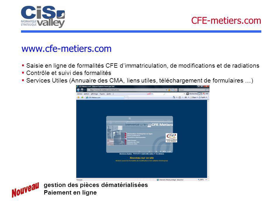 Saisie en ligne de formalités CFE dimmatriculation, de modifications et de radiations Contrôle et suivi des formalités Services Utiles (Annuaire des C