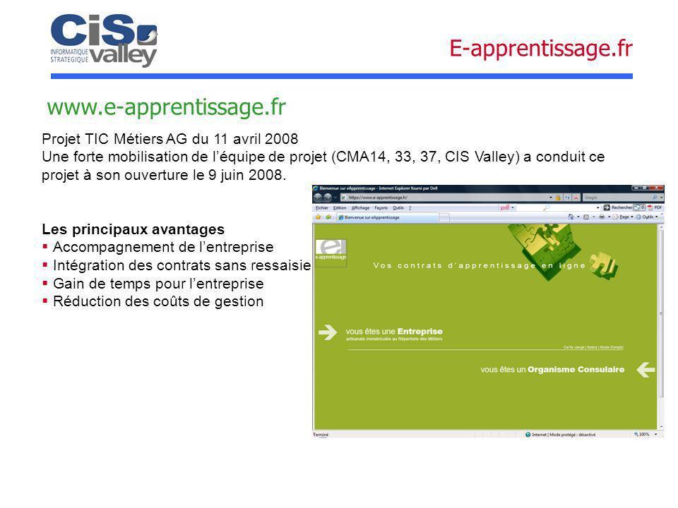 www.e-apprentissage.fr Projet TIC Métiers AG du 11 avril 2008 Une forte mobilisation de léquipe de projet (CMA14, 33, 37, CIS Valley) a conduit ce pro