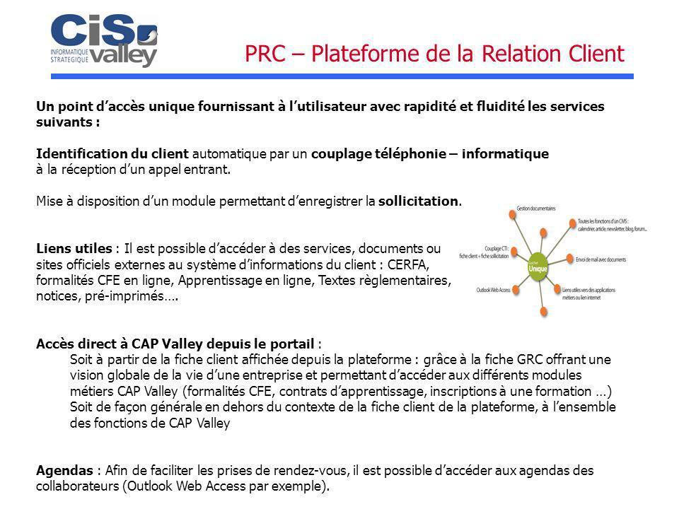 PRC – Plateforme de la Relation Client Un point daccès unique fournissant à lutilisateur avec rapidité et fluidité les services suivants : Identificat