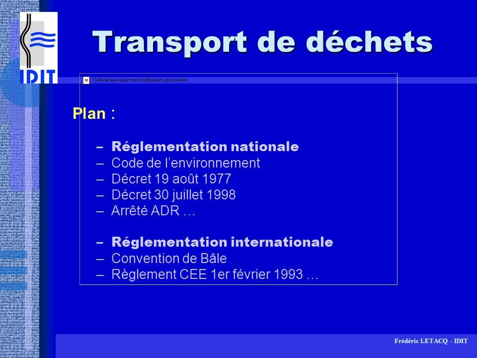 Frédéric LETACQ - IDIT Code de lenvironnement Loi 75-633 du 15 juillet 1975 Devenue par ordonnance 2000-914 du 18 septembre 2000 code de lenvironnement (art.