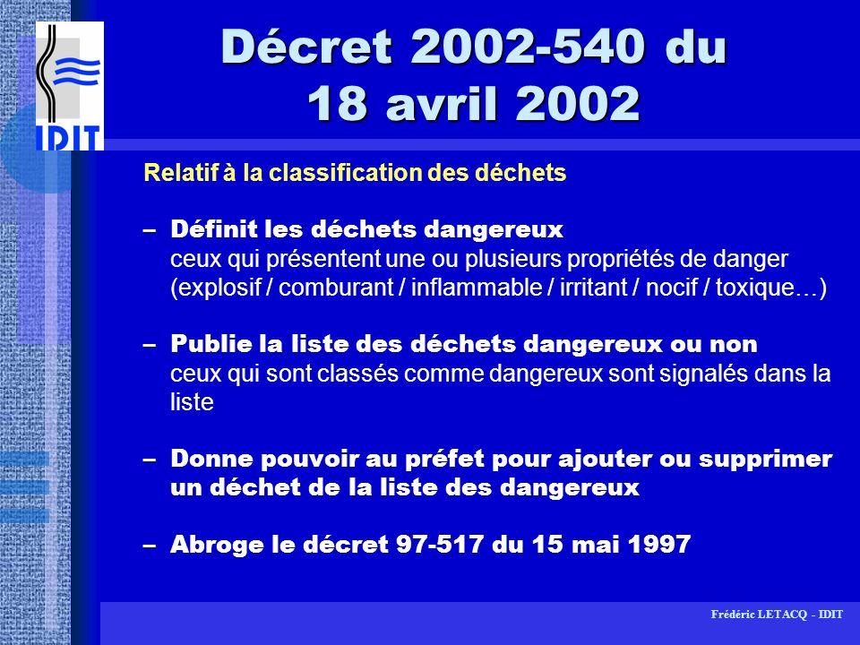 Frédéric LETACQ - IDIT Arrêté du 26 avril 1996 Protocole de sécurité –mise à disposition des protocoles de sécurité datés et signés au CHSCT et à linspection du travail -Sanctions : varient selon que linobservation de lobligation a entraîné ou non un accident du travail : -Code du travail punit dune amende (3800) les infractions aux règles dhygiène et de sécurité -en labsence daccident, mise en demeure de se conformer à lobligation par linspection du travail -en cas daccident, lentreprise verra ses cotisations accidents majorées à proportion de sa gravité et plus encore si lon considère que la négligence constitue une faute inexcusable -+ sanctions pénales (mise en danger / homicide...)