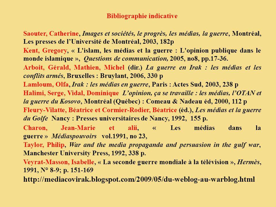 Bibliographie indicative Saouter, Catherine, Images et sociétés, le progrès, les médias, la guerre, Montréal, Les presses de lUniversité de Montréal,