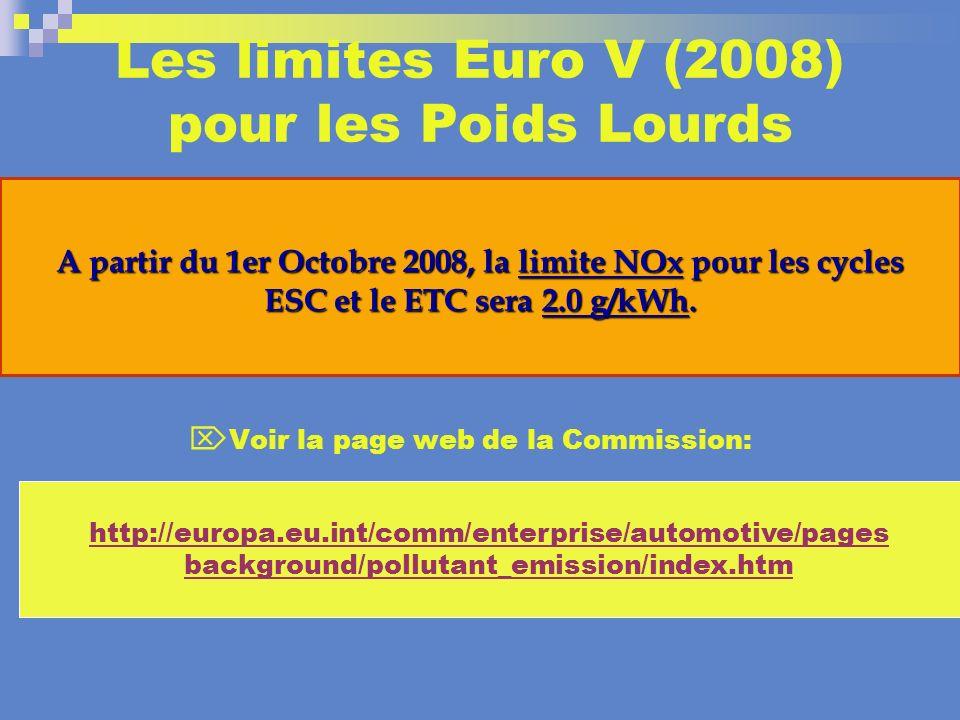 Les limites Euro V (2008) pour les Poids Lourds Voir la page web de la Commission: A partir du 1er Octobre 2008, la limite NOx pour les cycles ESC et