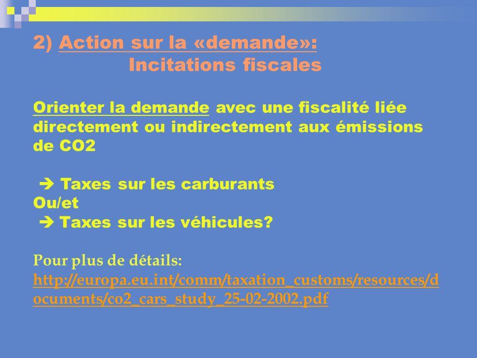 2) Action sur la «demande»: Incitations fiscales Orienter la demande avec une fiscalité liée directement ou indirectement aux émissions de CO2 Taxes s