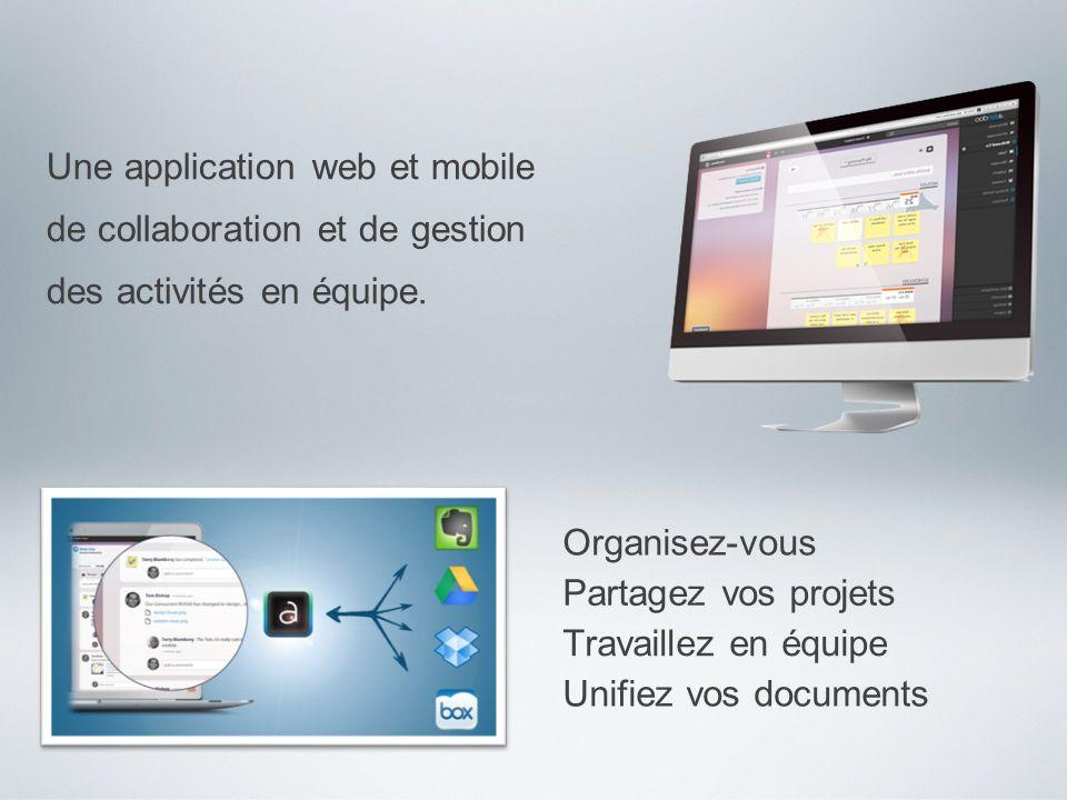 Une application web et mobile de collaboration et de gestion des activités en équipe. Organisez-vous Partagez vos projets Travaillez en équipe Unifiez