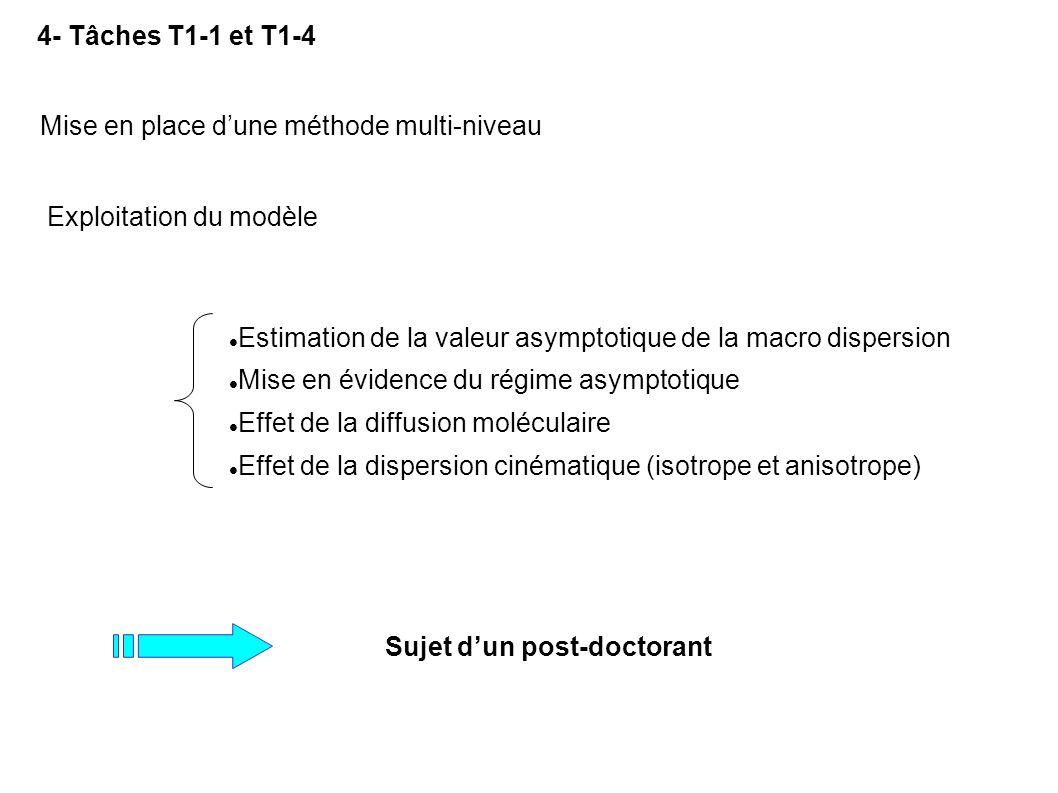 4- Tâches T1-1 et T1-4 Sujet dun post-doctorant Exploitation du modèle Mise en place dune méthode multi-niveau Estimation de la valeur asymptotique de