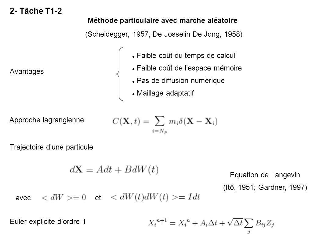 2- Tâche T1-2 Méthode particulaire avec marche aléatoire Trajectoire dune particule Approche lagrangienne Euler explicite dordre 1 Avantages Faible co