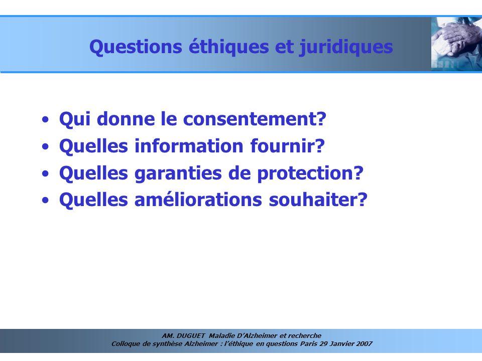 AM. DUGUET Maladie DAlzheimer et recherche Colloque de synthèse Alzheimer : léthique en questions Paris 29 Janvier 2007 Questions éthiques et juridiqu