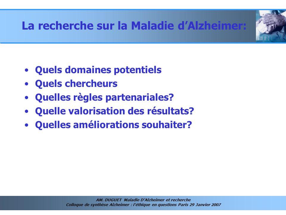 AM. DUGUET Maladie DAlzheimer et recherche Colloque de synthèse Alzheimer : léthique en questions Paris 29 Janvier 2007 La recherche sur la Maladie dA