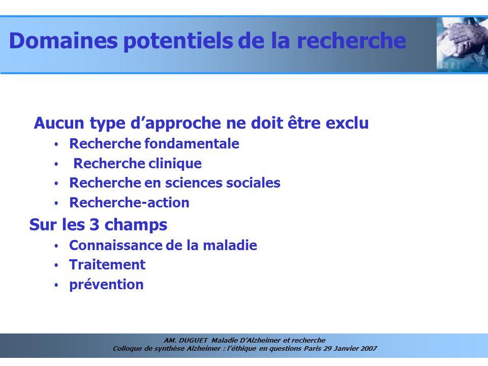 AM. DUGUET Maladie DAlzheimer et recherche Colloque de synthèse Alzheimer : léthique en questions Paris 29 Janvier 2007 Aucun type dapproche ne doit ê