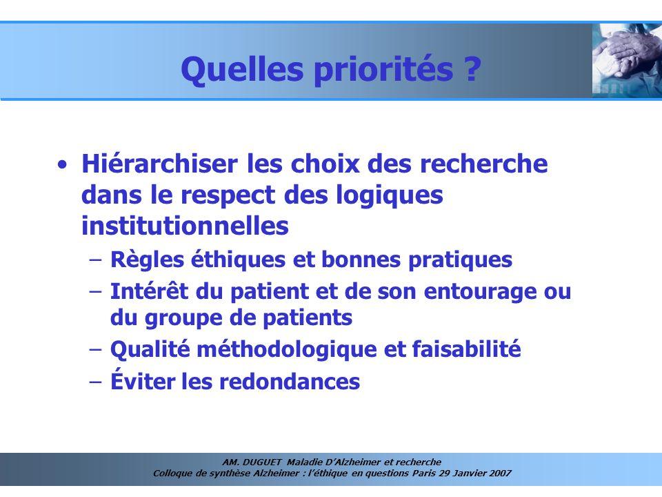 AM. DUGUET Maladie DAlzheimer et recherche Colloque de synthèse Alzheimer : léthique en questions Paris 29 Janvier 2007 Quelles priorités ? Hiérarchis