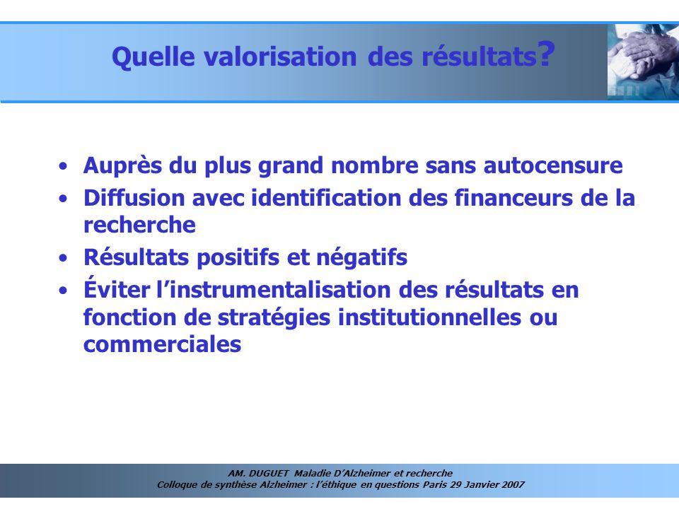 AM. DUGUET Maladie DAlzheimer et recherche Colloque de synthèse Alzheimer : léthique en questions Paris 29 Janvier 2007 Quelle valorisation des résult