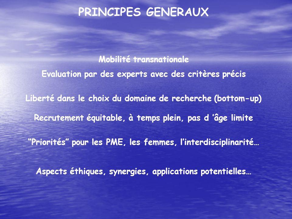 PRINCIPES GENERAUX Mobilité transnationale Evaluation par des experts avec des critères précis Liberté dans le choix du domaine de recherche (bottom-u
