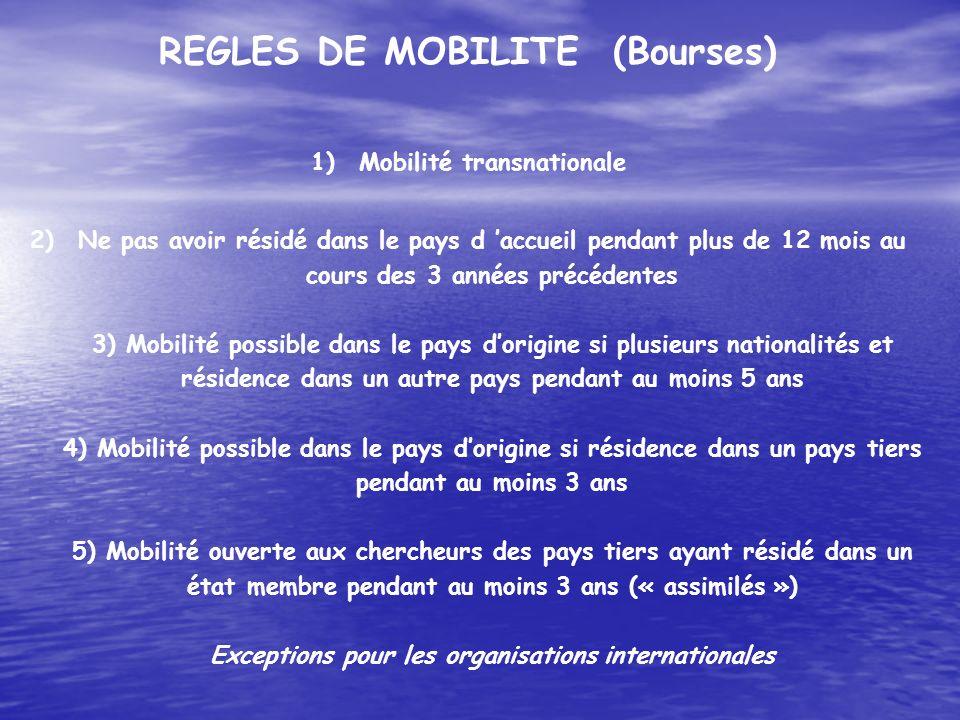 REGLES DE MOBILITE (Bourses) 1)Mobilité transnationale 2)Ne pas avoir résidé dans le pays d accueil pendant plus de 12 mois au cours des 3 années préc