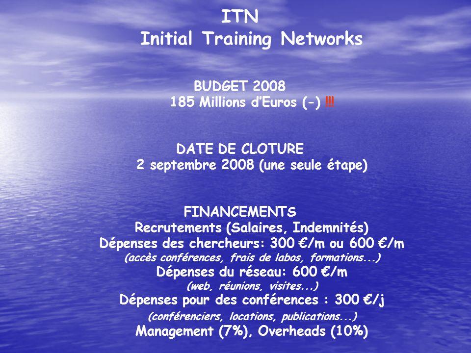 ITN Initial Training Networks BUDGET 2008 185 Millions dEuros (-) !!! DATE DE CLOTURE 2 septembre 2008 (une seule étape) FINANCEMENTS Recrutements (Sa