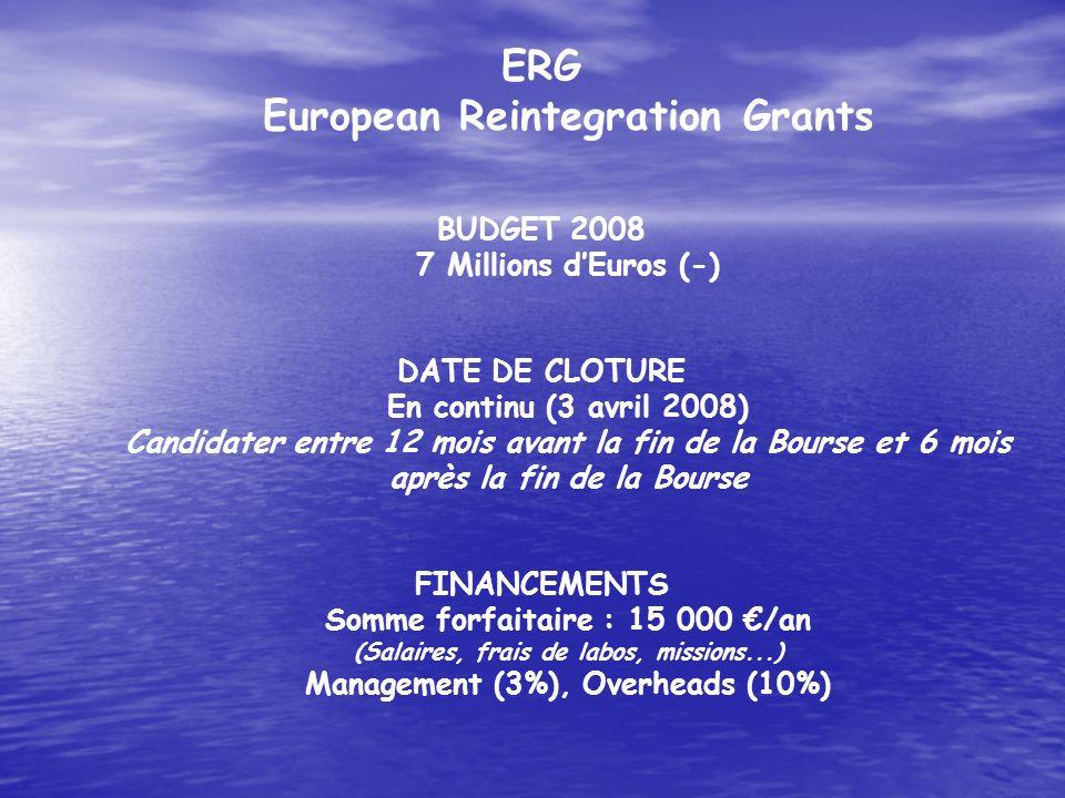 ERG European Reintegration Grants BUDGET 2008 7 Millions dEuros (-) DATE DE CLOTURE En continu (3 avril 2008) Candidater entre 12 mois avant la fin de