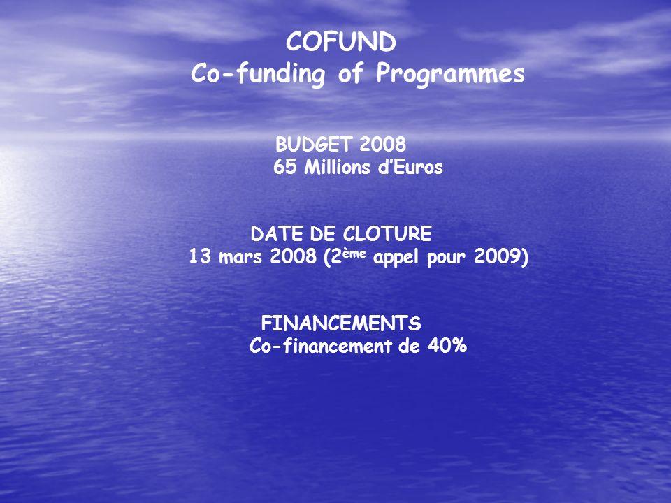 COFUND Co-funding of Programmes BUDGET 2008 65 Millions dEuros DATE DE CLOTURE 13 mars 2008 (2 ème appel pour 2009) FINANCEMENTS Co-financement de 40%