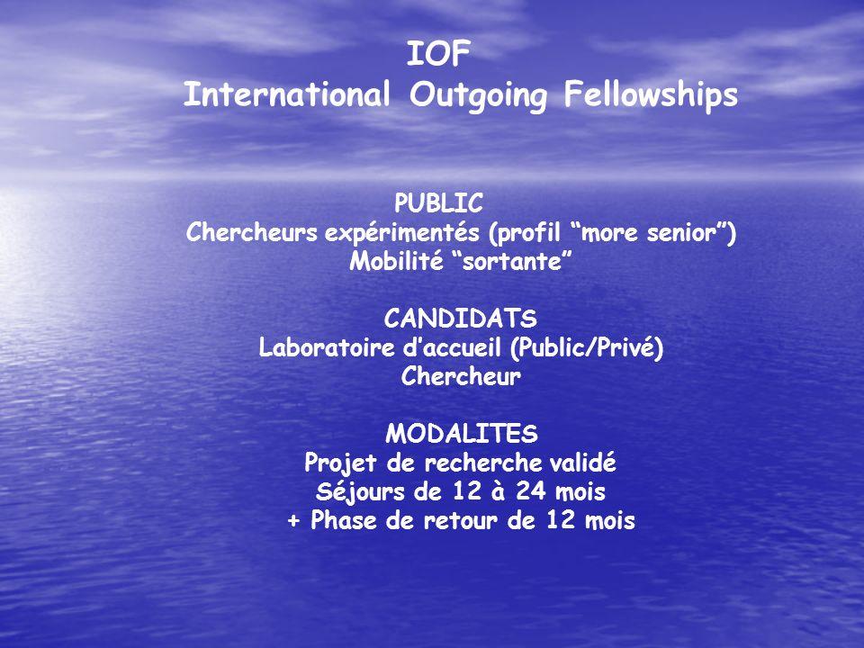 IOF International Outgoing Fellowships PUBLIC Chercheurs expérimentés (profil more senior) Mobilité sortante CANDIDATS Laboratoire daccueil (Public/Pr