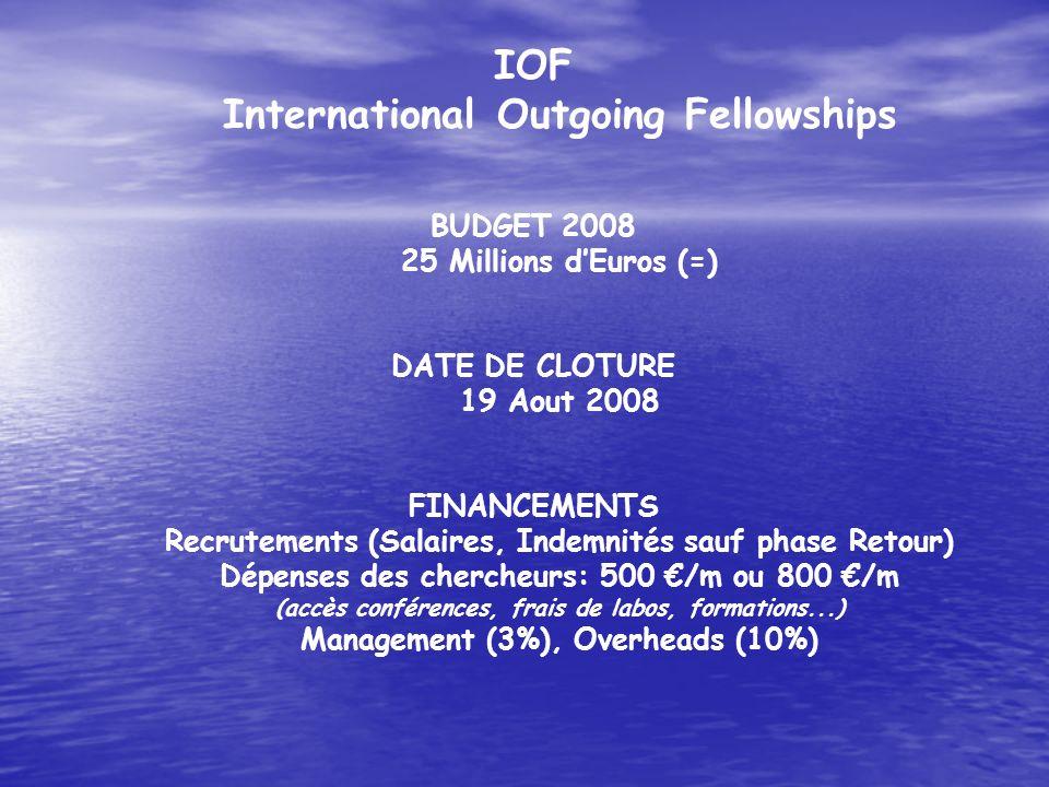 IOF International Outgoing Fellowships BUDGET 2008 25 Millions dEuros (=) DATE DE CLOTURE 19 Aout 2008 FINANCEMENTS Recrutements (Salaires, Indemnités