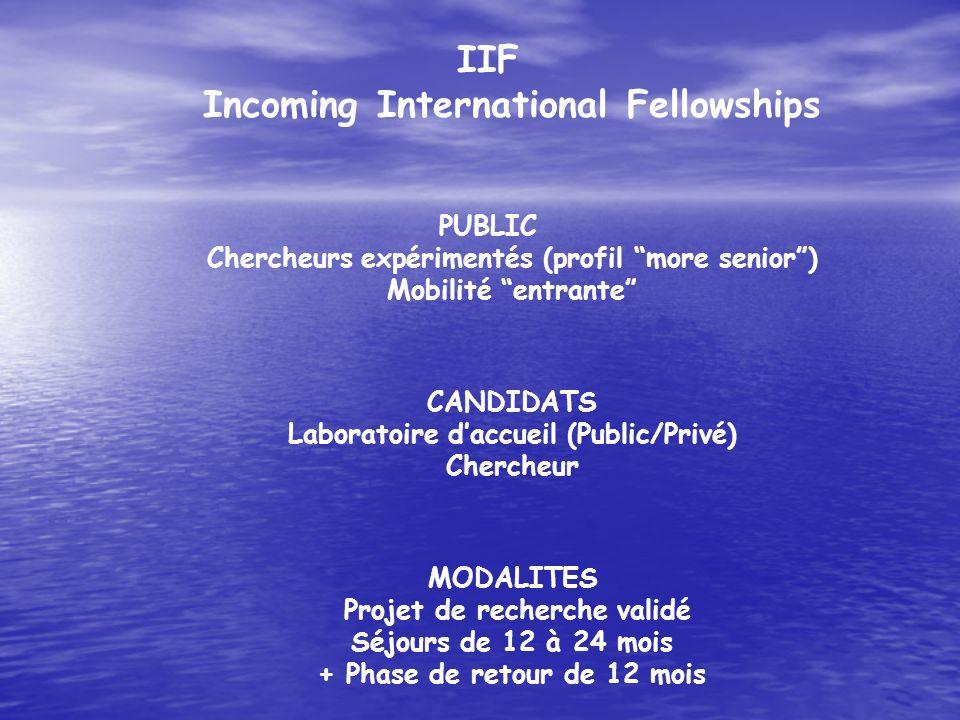 IIF Incoming International Fellowships PUBLIC Chercheurs expérimentés (profil more senior) Mobilité entrante CANDIDATS Laboratoire daccueil (Public/Pr
